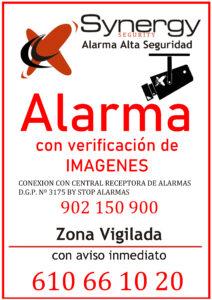 cartel de alarma con cámara
